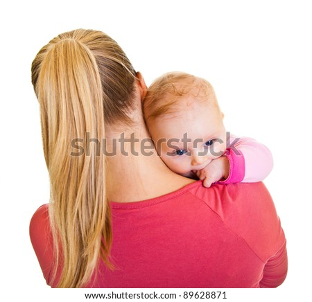 Mother holding infant baby girl isolated on white