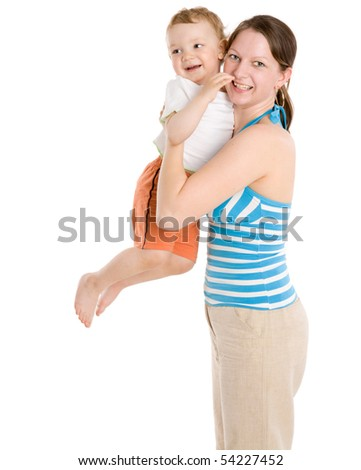 Mother holding son having fun isolated on white - stock photo