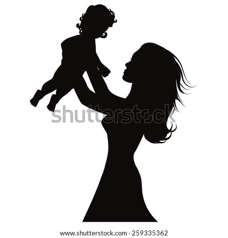 Mother holding up baby silhouette royalty free stock illustration for greeting card, ad, promotion, poster, flier, blog, article, social media, marketing - stock photo