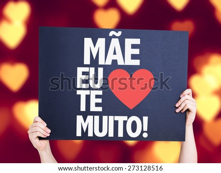 Mother I Love You So Much (in Portuguese) card with heart bokeh background - stock photo