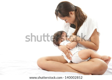 Mother is breast feeding for her baby