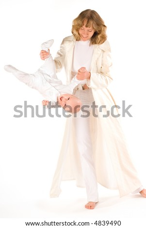 Mother lift up her baby - stock photo