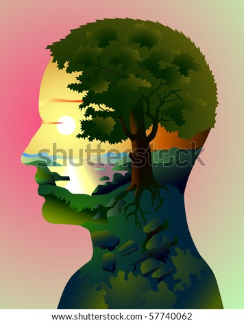 Mother-Nature, human head with landscape - stock photo