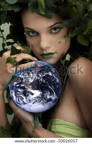 Mother nature protecting the Earth - stock photo