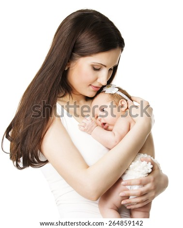 Mother Newborn Baby Family Portrait, Mom Embracing New Born Kid, Parent and Child Love Concept, Isolated Over White Background - stock photo