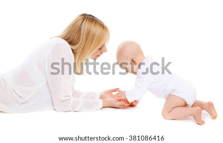 Mother playing with baby on a white background - stock photo