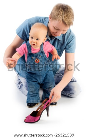 Mother playing  with child (isolated on white)