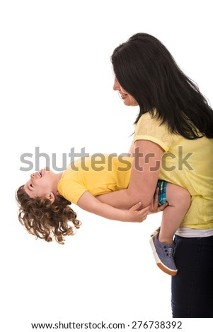 Mother playing with her toddler son isolated on white background - stock photo