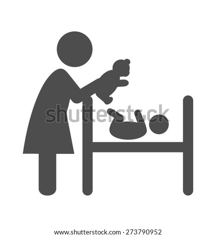 Mother plays with plush bear with the baby pictogram flat icon isolated on white background - stock photo