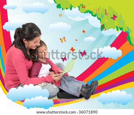 Mother reading a fairy tale to her daughter and sitting on a rainbow - stock photo