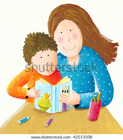 Mother reading good night story to her son - stock photo