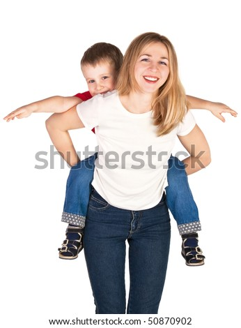 Mother riding son piggyback - stock photo