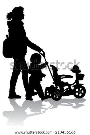 Mother rolls the baby in the stroller for a walk