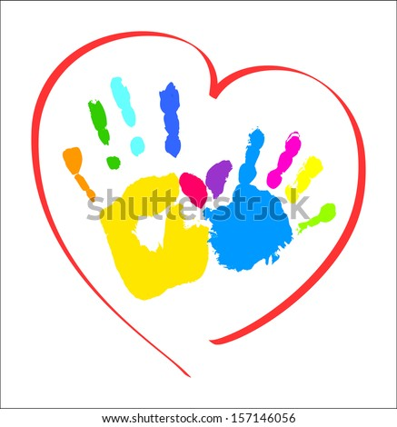 Mother's and kid's hands in a heart - stock photo