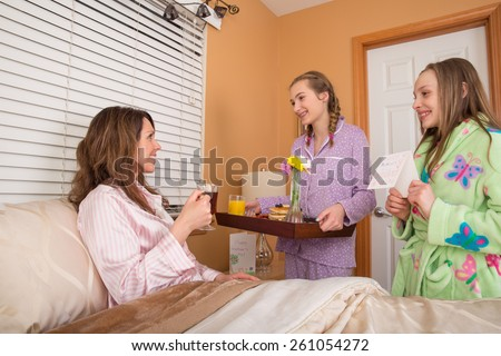 Mother's Day breakfast in bed - stock photo