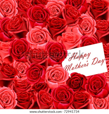 Mother's Day card on a background of red roses - stock photo