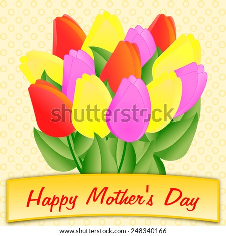 Mother's Day greeting with a large colorful bouquet of tulips in a square format - stock photo