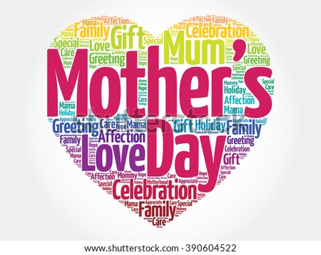 Mother's day heart word cloud - stock photo