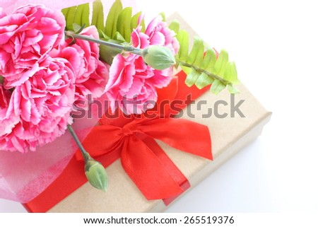Mother's day present and carnation bouquet - stock photo