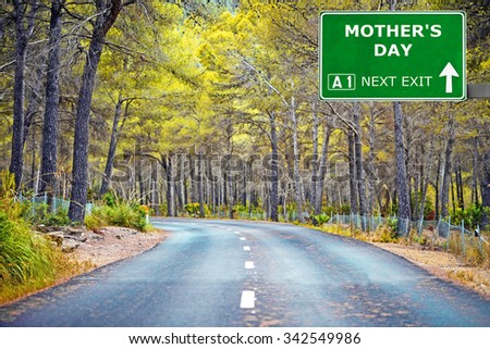 MOTHER'S DAY road sign against clear blue sky - stock photo