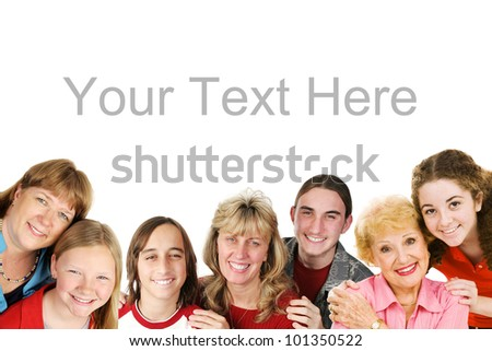 Mother's day themed border.  Children with their mom's and grandmothers.  Composite image isolated on white with room for text.