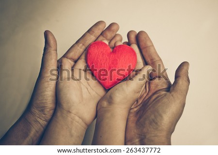 mother's hands and a child's hand holding a red heart together - stock photo