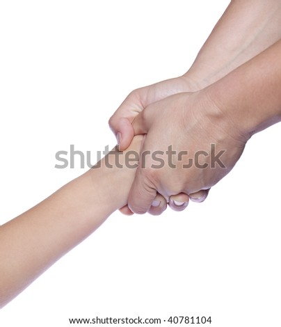 Mother's hands holding baby hand, on white isolated background