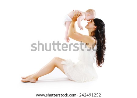 Mother's Happiness. Young mom with her cute baby having fun together  - stock photo