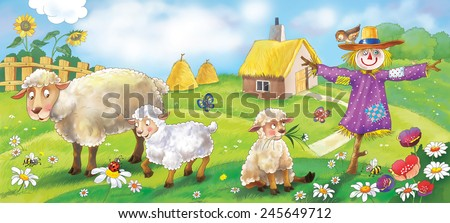 Mother sheep, her babies and a scarecrow at the farm. Illustration for children - stock photo