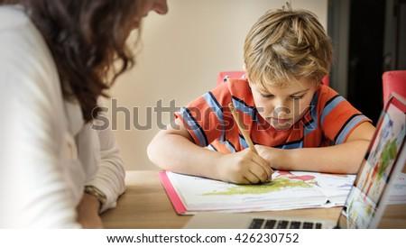 Mother Son Care Communication Laptop Concept - stock photo