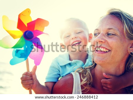 Mother Son Fun Relaxation Family Bonding Concept - stock photo