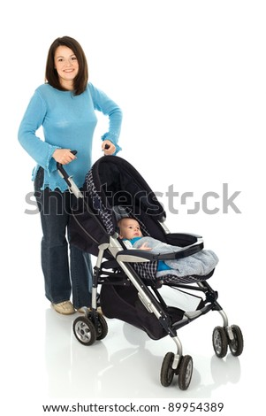 Mother take a walk with baby in pram, Isolated on white background - stock photo