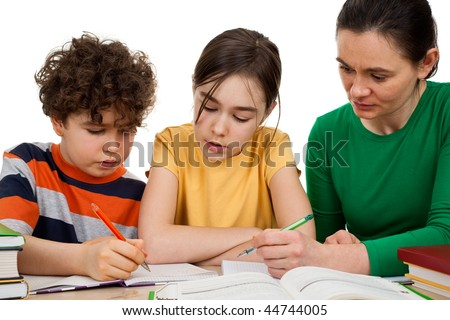 Mother teaching kids isolated on white background