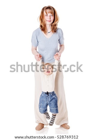 Mother together with her son isolated on white
