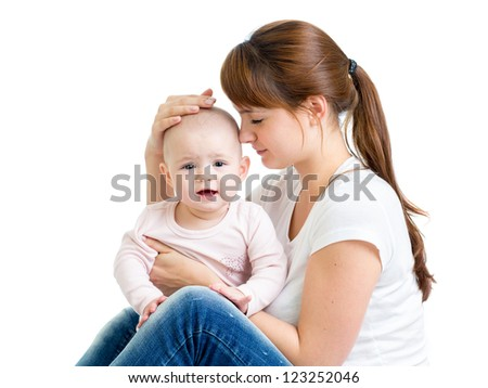 Mother with baby girl isolated on white background