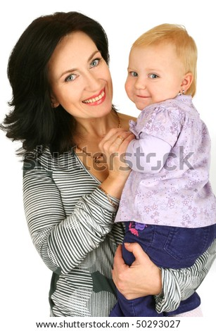 Mother with baby girl on white background;