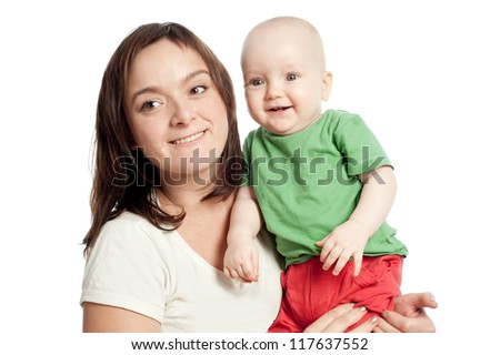 Mother with baby ten months - stock photo