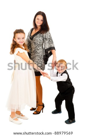 Mother with children full length portrait isolated on white - stock photo