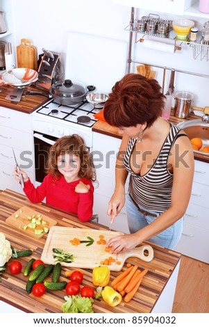 Mother with daughter making fun in the kitchen