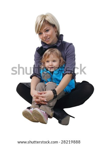 Mother with daughter on hands on a white  background