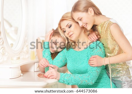 Mother with daughters of twins