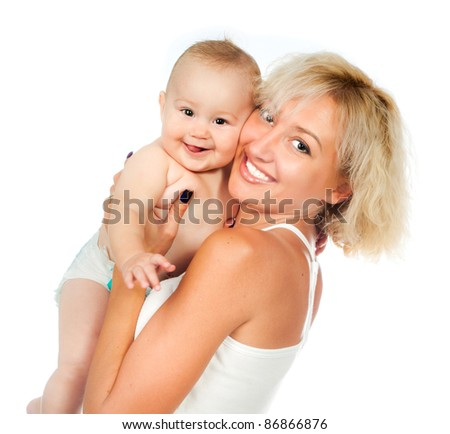 mother with her baby isolated on white background