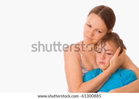mother with her child together on a white