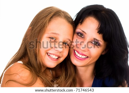 mother with her daughter on a white