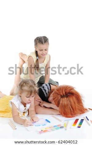 mother with her daughters. Isolated on white background - stock photo