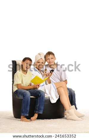 mother with her two sons - stock photo