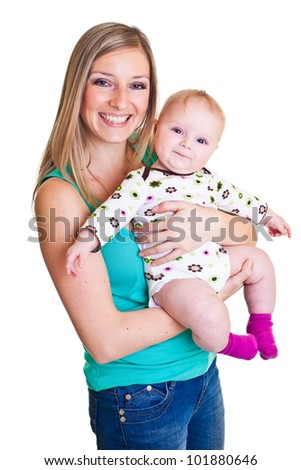 Mother with infant girl isolated on white - stock photo