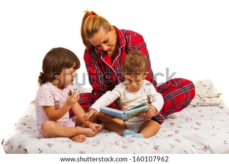 Mother with kids reading bedtime story isolated on white background