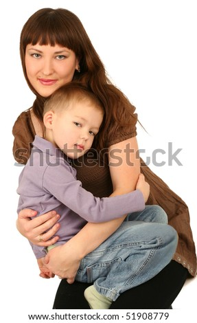 Mother with little son on white background