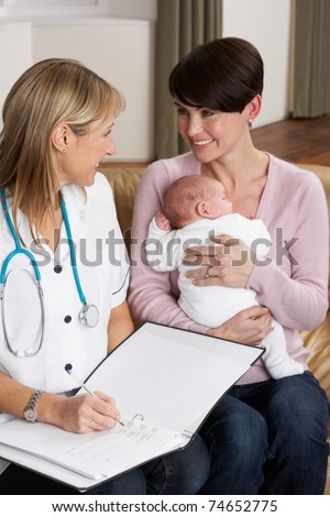 Mother With Newborn Baby Talking With Health Visitor At Home - stock photo